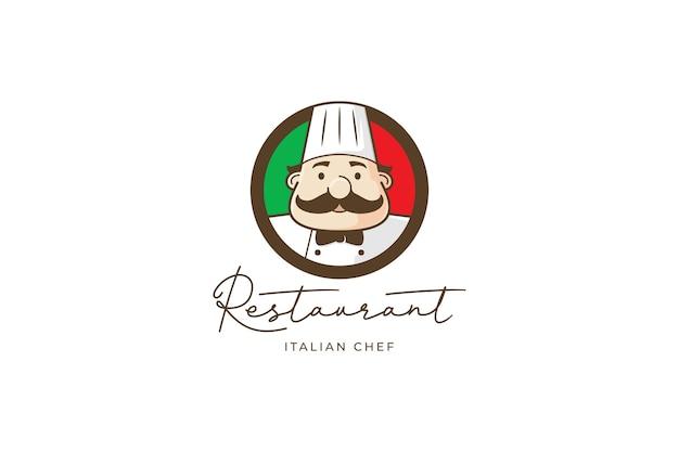 Logotipo del restaurante con chef y bandera italiana.