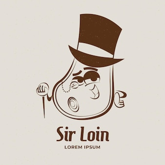 Logotipo de restaurante de dibujos animados retro detallado