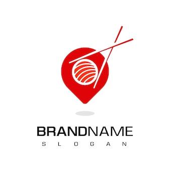 Logotipo de restaurante japonés, icono de lugar de sushi con puntero y símbolo de sushi