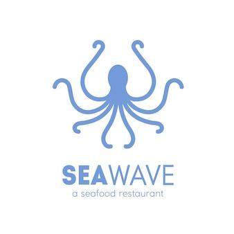 Logotipo para restaurante de mariscos con silueta de pulpo aislado sobre fondo blanco. logotipo con animal marino, molusco, criatura marina, habitante submarino. ilustración de vector simple monocromo.