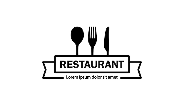Logotipo del restaurante en negro. cuchara, tenedor y cuchillo. vector sobre fondo blanco aislado. eps 10.