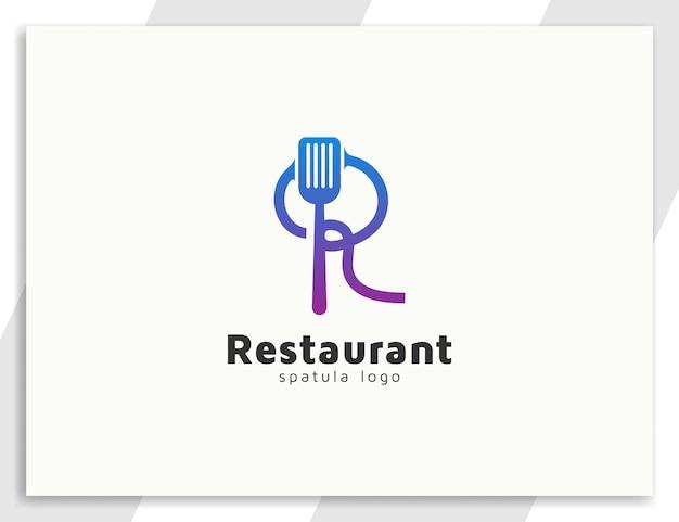Logotipo de restaurante o comida con letra r y concepto de ilustración de espátula