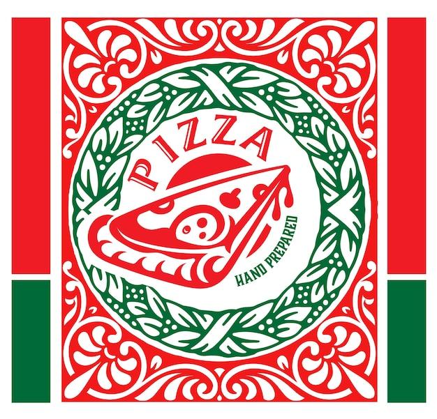 Logotipo del restaurante pizzería en estilo vintage.