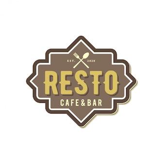 Logotipo del restaurante: producto de bebida alimenticia con elemento de cuchara y tenedor