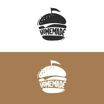 Logotipo retro de hamburguesas caseras, emblema