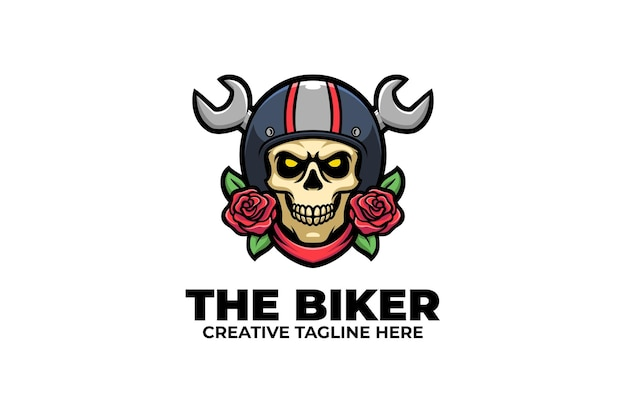 Logotipo retro del personaje de la mascota del motorista del cráneo