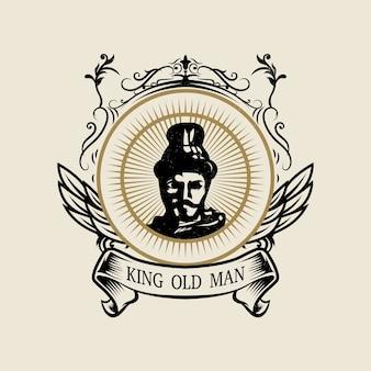 Logotipo del rey islámico con estilo vintage
