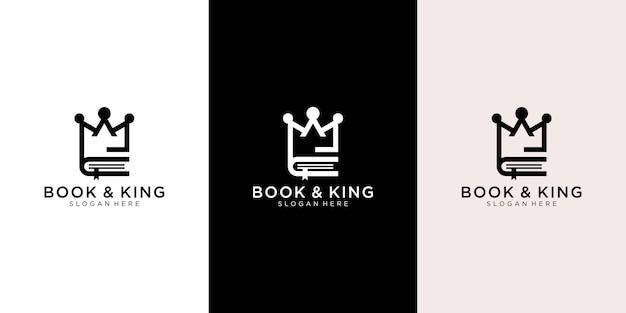 Logotipo de rey y libro