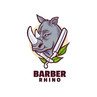 Logotipo de rhino barber Vector Premium