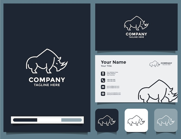 Logotipo de rinoceronte y tarjeta de visita