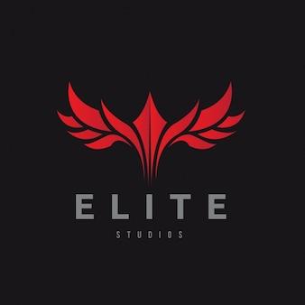 Logotipo rojo sobre un fondo negro