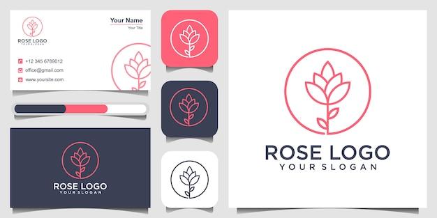 Logotipo de rosa, concepto de spa y tarjeta de visita