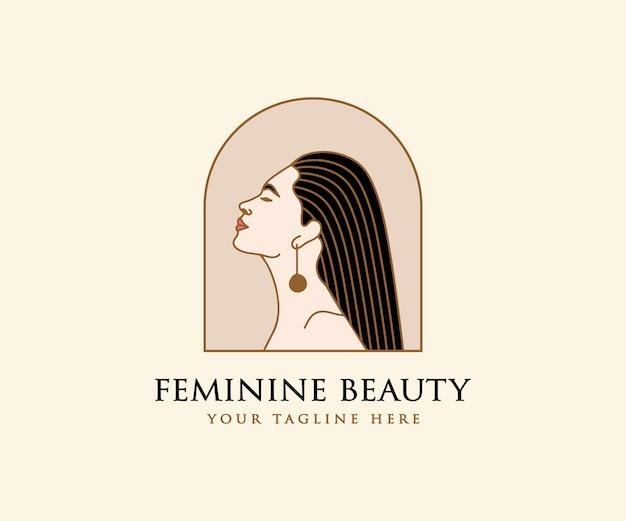 Logotipo de rostro y cabello de mujer hermosa para salón de belleza, spa, cuidado de la piel, marca