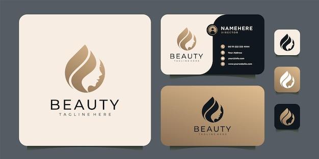 Logotipo de rostro de mujer de belleza