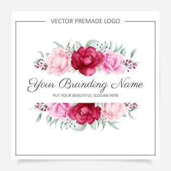 Logotipo de rubor y flores de color burdeos prefabricado