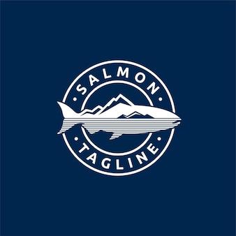Logotipo de salmón con concepto de emblema