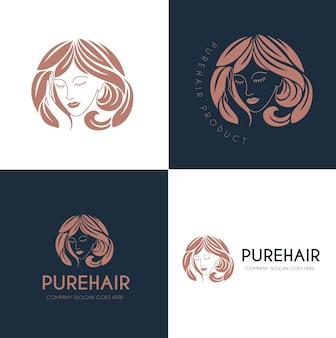 Logotipo de salón de belleza de cabello puro