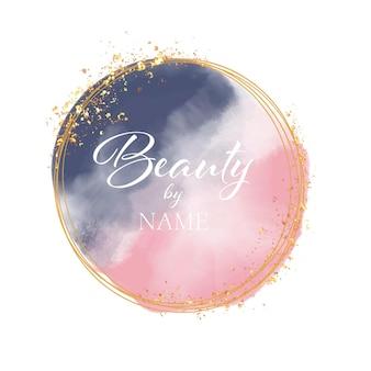 Logotipo de salón de belleza con diseño de acuarela y purpurina dorada.