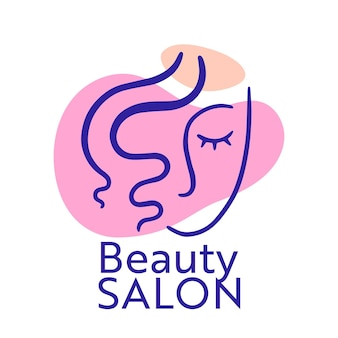 Logotipo de salón de belleza con rostro de mujer y rizos, emblema aislado o etiqueta para salón femenino, logotipo de servicio de corte de pelo. banner creativo con niña y mancha rosa sobre fondo blanco. ilustración vectorial