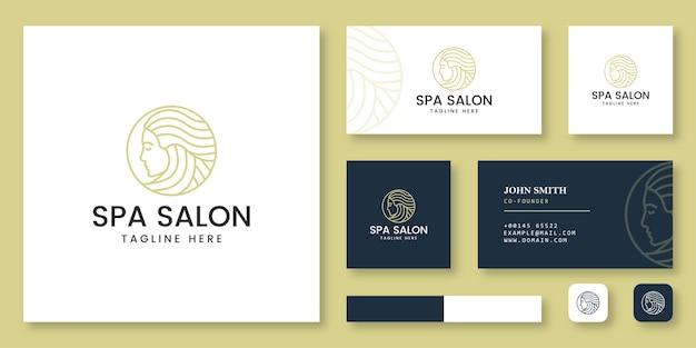 Logotipo de salón de spa con plantilla de tarjeta de visita