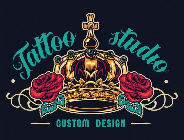 Logotipo de salón de tatuaje colorido