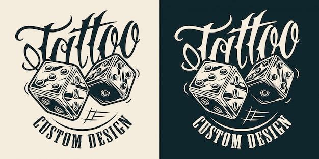 Logotipo de salón de tatuaje monocromo vintage