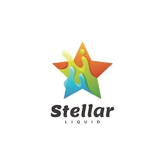 Logotipo de salpicaduras de líquido líquido estrella y abstracto