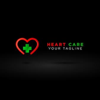 Logotipo de salud 3d, más símbolo con línea de amor roja, identidad de marca del hospital