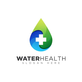 Logotipo de salud de gota de agua, diseño de logotipo de donantes de sangre
