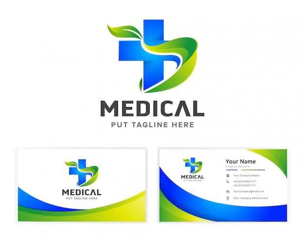 Logotipo de salud médica para empresa con tarjeta de presentación