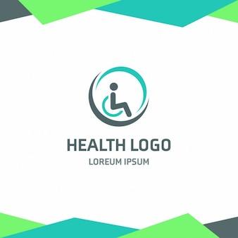 Logotipo de salud con una persona en silla de ruedas