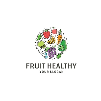 Logotipo saludable de frutas