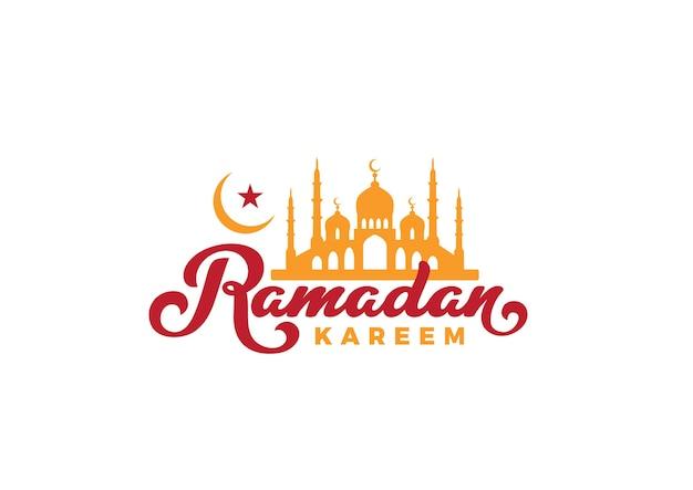 Logotipo de saludo de letras de texto de ramadán kareem