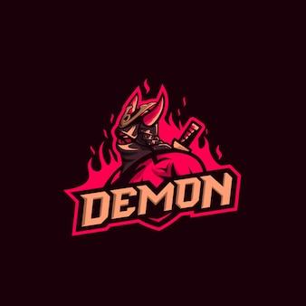 Logotipo de samurai demonio premium