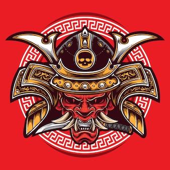 Logotipo de samurai de máscara oni