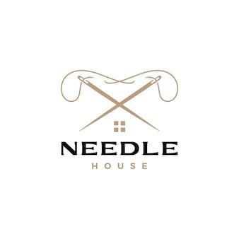 Logotipo de sastre de la casa del hilo de aguja