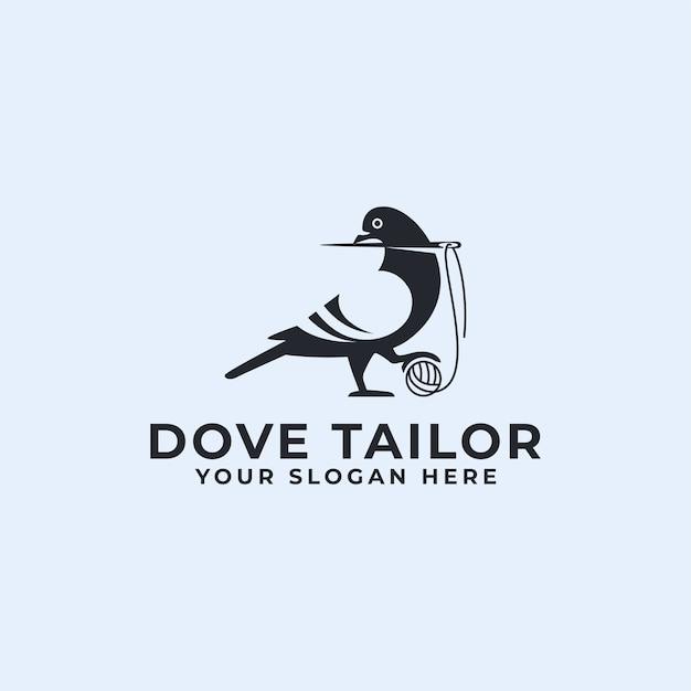 Logotipo de sastre de paloma o pájaro paloma