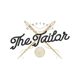 Logotipo para sastres en estilo vintage con elementos de aguja e hilo.