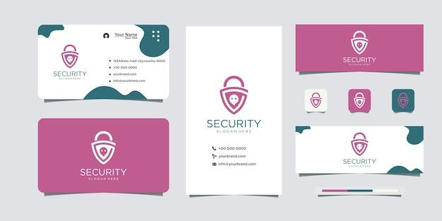 Logotipo de seguridad de chat y tarjeta de visita.