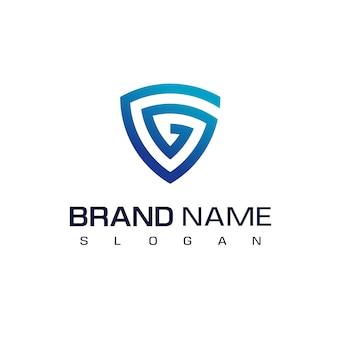 Logotipo seguro con símbolo de escudo de huella digital