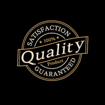 Logotipo de sello de producto de calidad garantizada para la venta de la tienda en línea vector premium