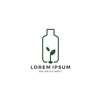 Logotipo de semillas de botellas de plástico