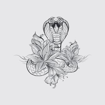 Logotipo de serpiente y flor