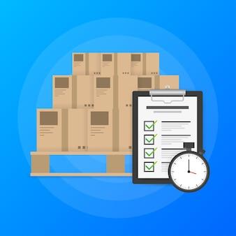 Logotipo del servicio de entrega urgente. paquete de entrega de tiempo rápido con cronómetro sobre fondo azul. lista de quehaceres.