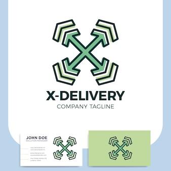 Logotipo del servicio de transporte de mensajería de la letra ry la flecha