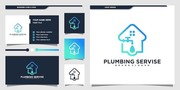 Logotipo de servicio de tubería minimalista con estilo de arte de línea moderno y diseño de tarjeta de visita vector premium