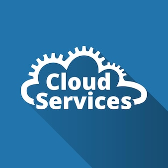 Logotipo de servicios en la nube, icono. saas, paas, iaas. tecnología, software empaquetado, aplicación descentralizada, computación en la nube. engranajes en la línea de nubes. ilustración vectorial.