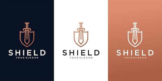 Logotipo de shield sword line