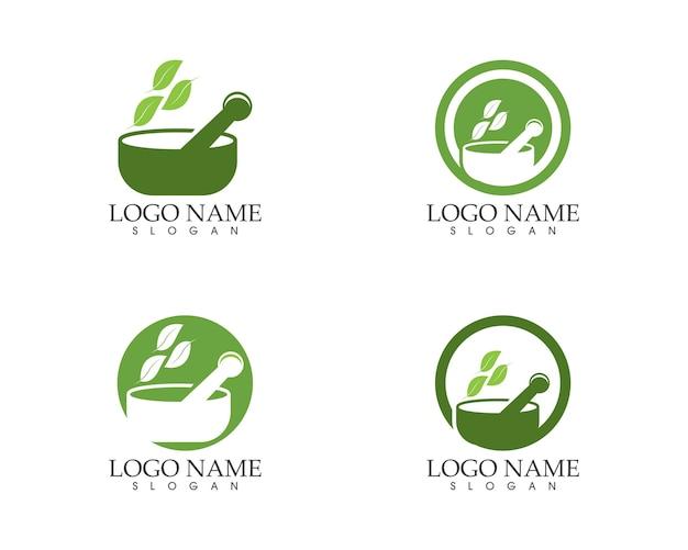 Logotipo de signo de icono de farmacia de hierbas