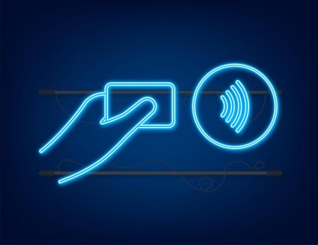Logotipo de signo de pago inalámbrico sin contacto. tecnología nfc. cerca de un campo de comunicación. letrero de neón nfc. ilustración de stock vectorial.